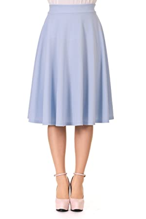Feminine Stretch High Waist Flared Circle Skater Midi Skirt (L, Skyblue)