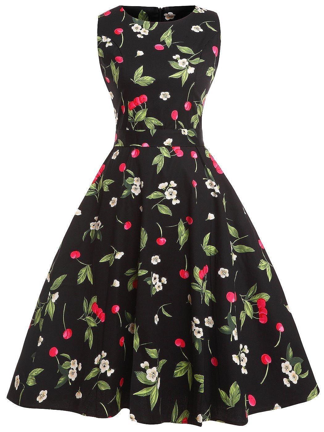 TALLA XXL. FAIRY COUPLE 50s Vestido de Partido Floral Retro del Oscilación del Cóctel del Vintage con el Arco DRT017 Cereza XXL