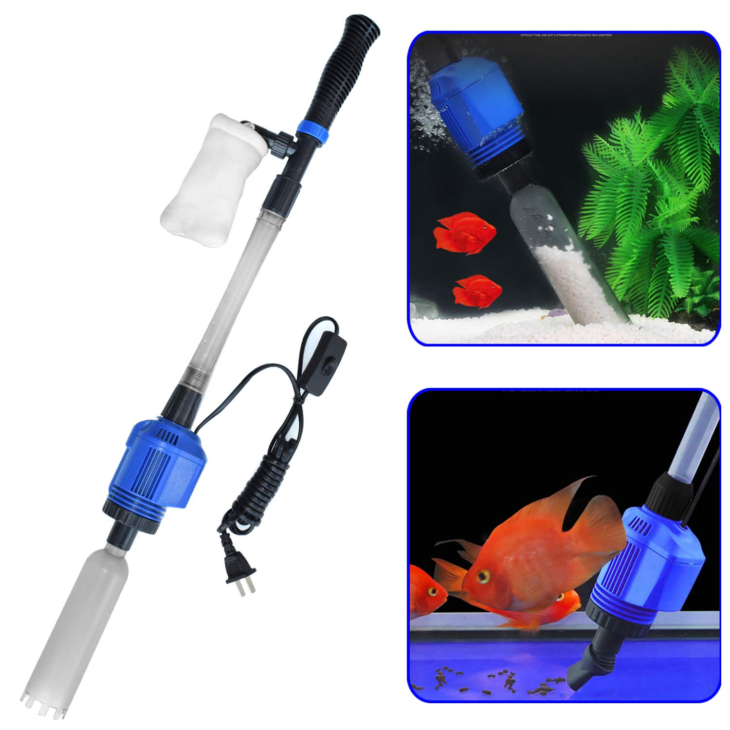 YADICO Auto Electric Aquarium Gravel Cleaner, 3 in 1 Automatic Sludge Extractor for Fish Plant Tanks