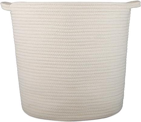 INDRESSME Large Cotton Rope Basket Woven Basket Baby Laundry Basket Blanket Basket Toy Storage Bin for Living Room Floor Nursery Decor 38H x 33W cm