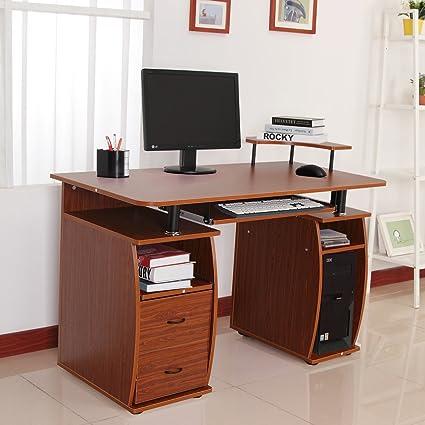 Homcom – Mesa de oficina ordenador PC de escritorio casa muebles ...
