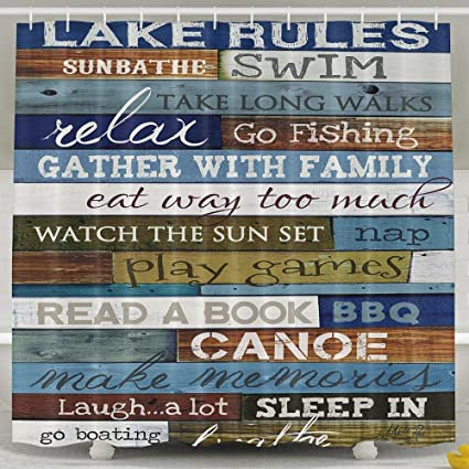 Amazon Waterproof Shower Curtain Lake Rules Of Cabin Shower