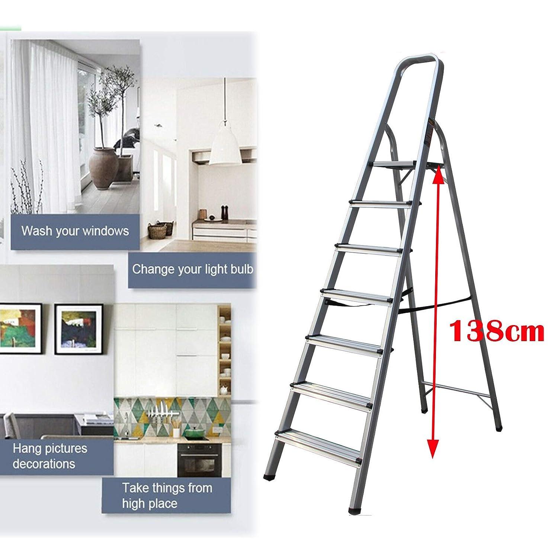 Escalera plegable con patas antideslizantes con capacidad para la oficina resistente y ligera de aluminio de 330 libras herramientas de mejora del hogar seguridad EN131