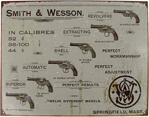 """SMITH /& WESSON Firearms Metal Aluminum Tin Sign 9/"""" x 12/"""""""