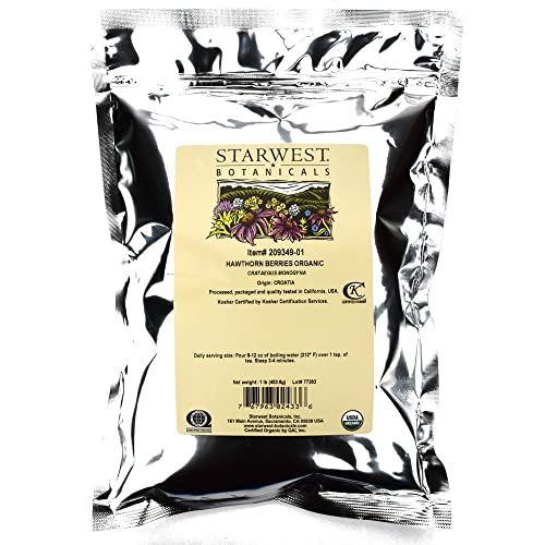 Starwest Botanicals Organic Hawthorn Berries Whole, 1 Pound