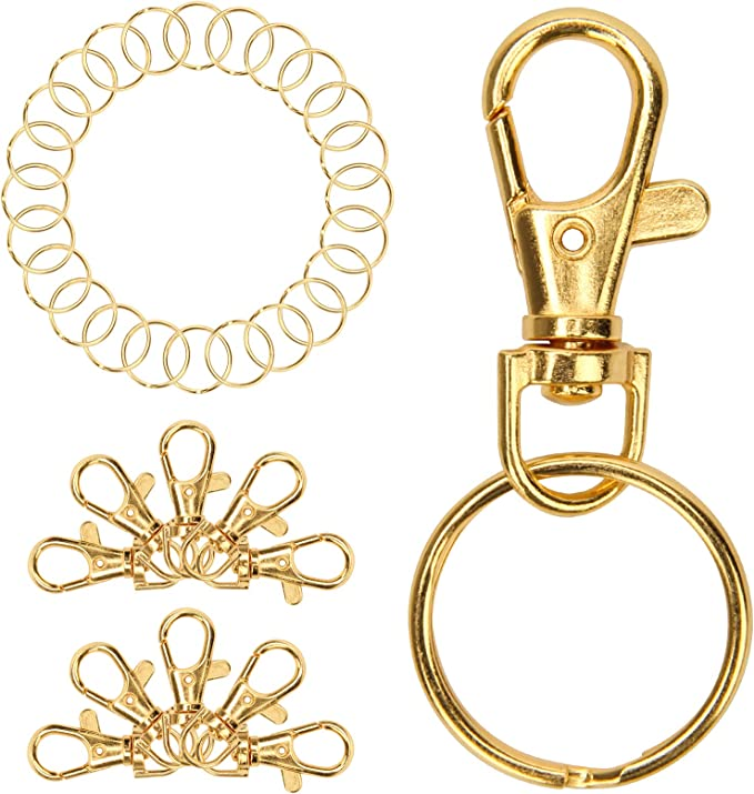 Gold GBSTORE 10 Pcs Swivel Lobster Claw Clasps Hardware Accessories Rotating Dog Buckle Metal Spring Key Chain Hook Clasps for Handbag DIY Bags Key Rings and Jewelry Making Findings
