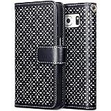 Galaxy S6 Case, Terrapin Ätzen Blumen Handy Leder Brieftasche Case Hülle mit Kartenfächer für Samsung Galaxy S6 Hülle Schwarz