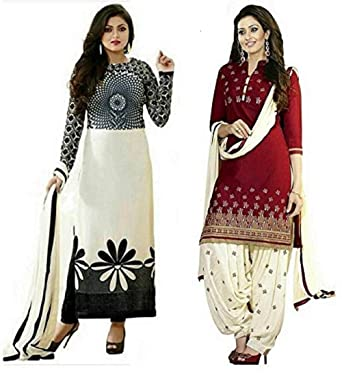 120f44bbb2 MAHAVIR FASHION Women's Poly Cotton Printed Salwar Suit Dress Materials  (Combo pack of 2): Amazon.in: Clothing & Accessories