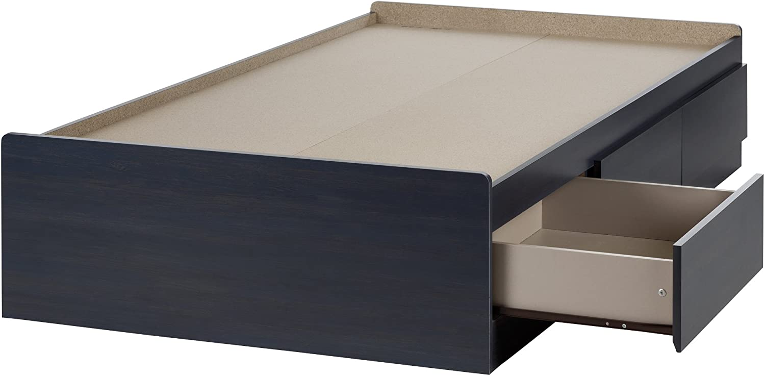 South Shore Aviron Mates Bed with 3 Drawers, Twin 39-inch, Blueberry