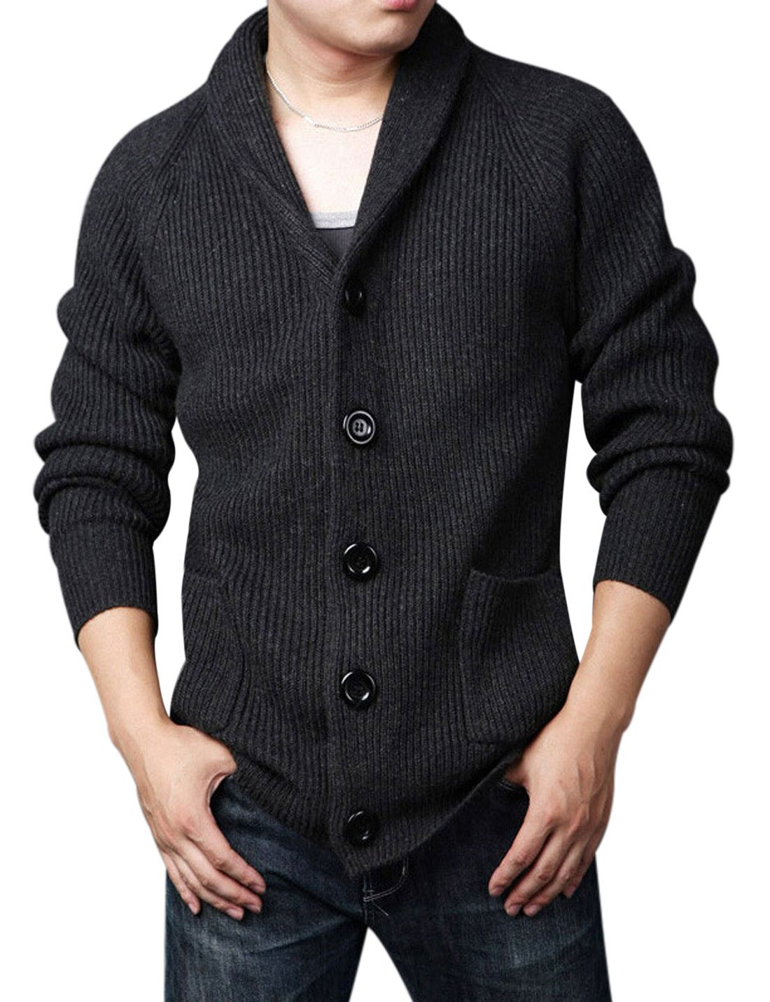 Yeokou Men's Casual Slim Thick Knitted Shawl Collar Cardigan Sweaters Pockets (X-Large, Black)