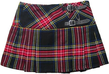 Viper London 13 Inch Microminifalda Escocesa Negro y Rojo EU 42