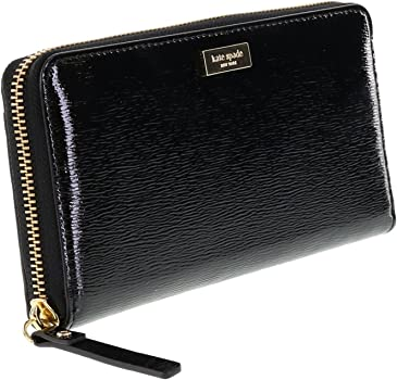 New Kate Spade Neda Bixby Place Zip Around Wallet Patent Leather Black