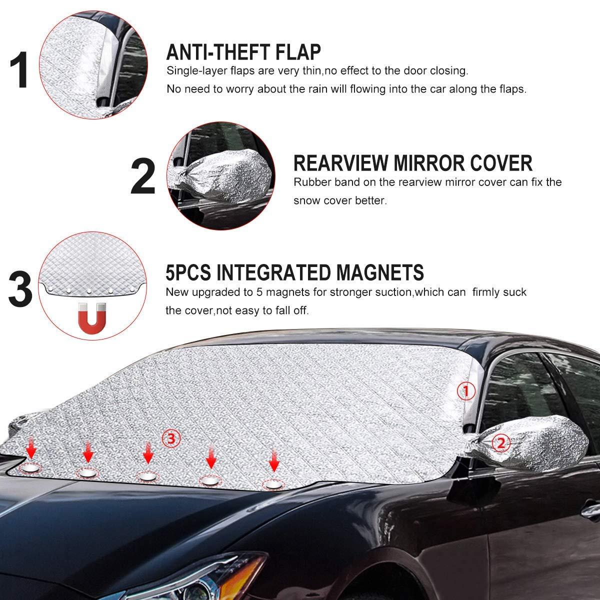SanGlory Frontscheibenabdeckung Auto Windschutzscheiben Abdeckung Magnet Scheibenabdeckung Faltbare Autoabdeckung Winter Scheibe Abdeckung gegen UV-Strahlung Schnee EIS Frost und Sonne