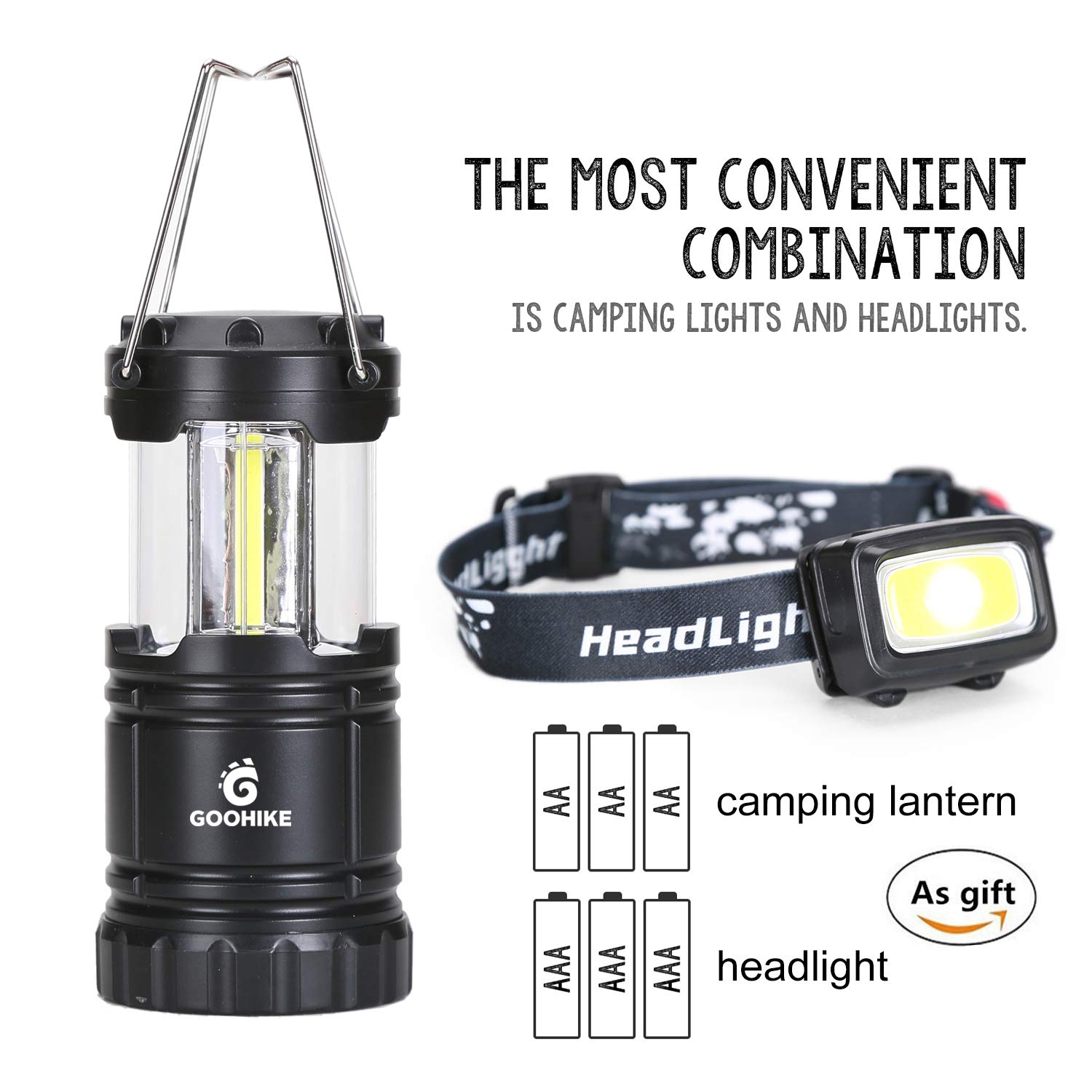 Goohike Camping Lantern & Headlamp Set, Super Bright Multipurpose Headlight Flashlight Suitable for Emergencies, Camping, Hiking, Power Outages, Night Walk, Night Fishing
