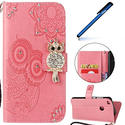 Coque Huawei P8 Lite 2017, Housse Étui Huawei P8 Lite 2017, Ysimee Huawei P8 Lite 2017 Étui en Cuir Case Luxe Diamant Chouette Portefeuille Folio Leather Flip Case Cover Wallet Pouch Protection Coque avec Souple