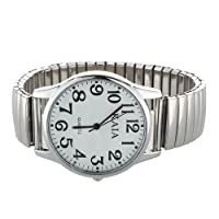 "SODIAL(R) Big Numbers Stretchy Steel Men Lady Sports Wrist Watch 1.4"""