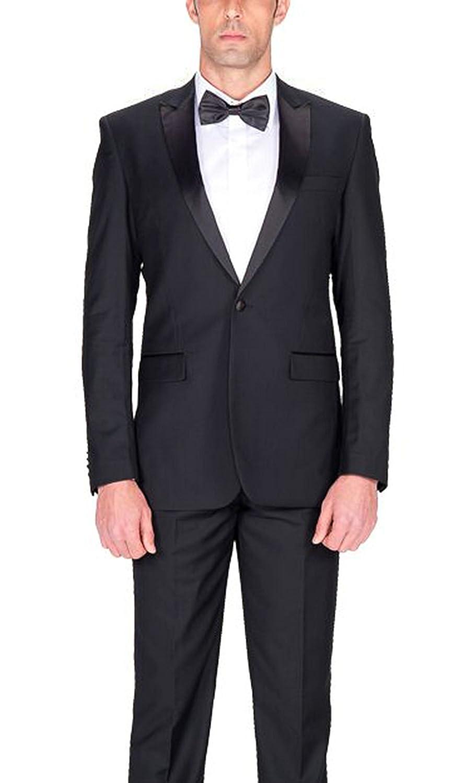 Braveman Slim Fit Solid Black One Button Tuxedo Tux Suit With Peak Lapels