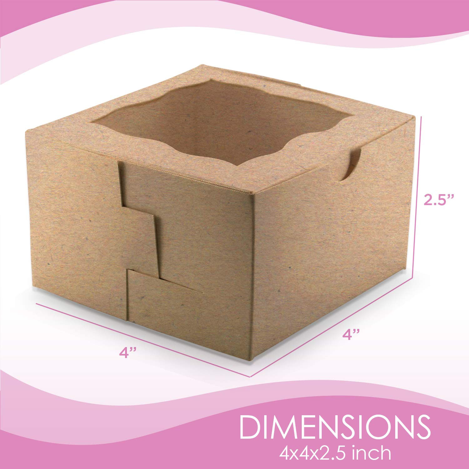 [50Pack] Bakery and Wedding Favor Boxes with Window 4x4x2.5'' - Gift Boxes for Cookies, Cake, Pastries, Donuts, Cupcakes, Candy & Baked Good Treats | Small Dessert Packaging Party Containers by FreshLi (Image #2)