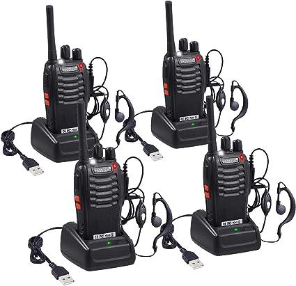 Walkie Talkie UHF 400-470MHZ Ham Long Range 2-Way Radio 5W US Charger+Earpiece