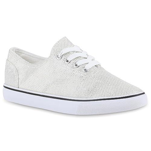 Damen Glitzer Sneakers Sport SchnürerSneaker Low Stoff Damen Flats Schuhe  139880 Weiss Berkley 36 Flandell 8b0280ce2b