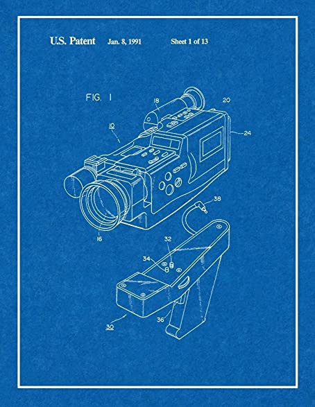 Amazon video camera patent print art poster blueprint with video camera patent print art poster blueprint with border 85quot malvernweather Images