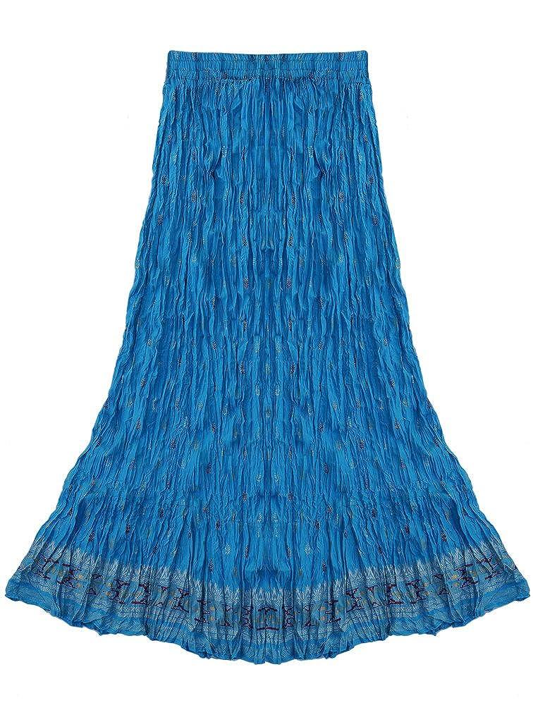 Ayurvastram ピュアコットン縮み艶出しブロックプリントロングスカート Size B01AVTO2VC Size XS; Body Waist: Ayurvastram Waist: 24.5 in|Gold and Green motif print on Turquoise Blue Gold and Green motif print on Turquoise Blue Size XS; Body Waist: 24.5 in, オブセマチ:2853aa18 --- karunyajyoti.org