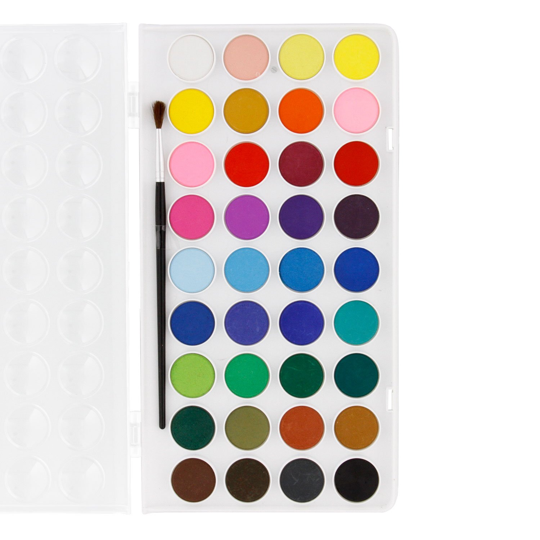 U.S. Art Supply 36 Color Watercolor Artist Paint Set with Plastic ...
