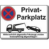 Privat Parkplatz - Aluverbund- oder Hartschaumplatte oder Aufkleber 210 x 300mm (Aluverbundplatte 300 x 210 mm)