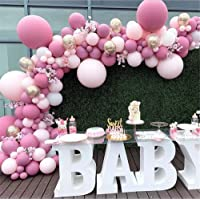 LDFWAYAU Pink Latex Balloon Arch Kit Pink Rose Gold Balloons for Baby Shower Birthday Party Wedding Graduation…