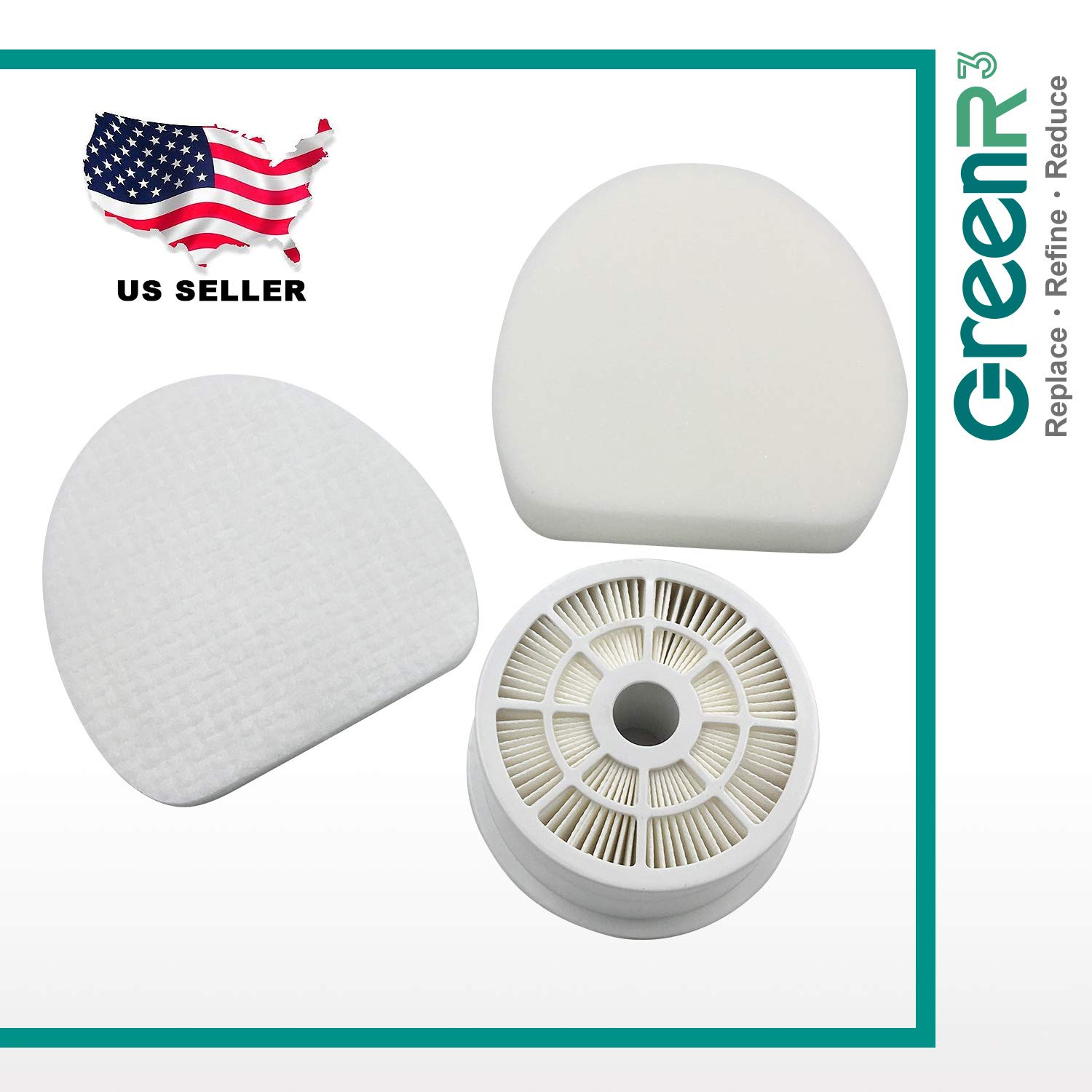 GreenR3 1-Pack HEPA Air Filter Set Replaces Shark Part# XHF400 and XFF400 for Shark NV400 NV401 NV402. Includes 1 x HEPA Filter + 1 x Foam Pre-Filter SHARK XHF400+XFF400