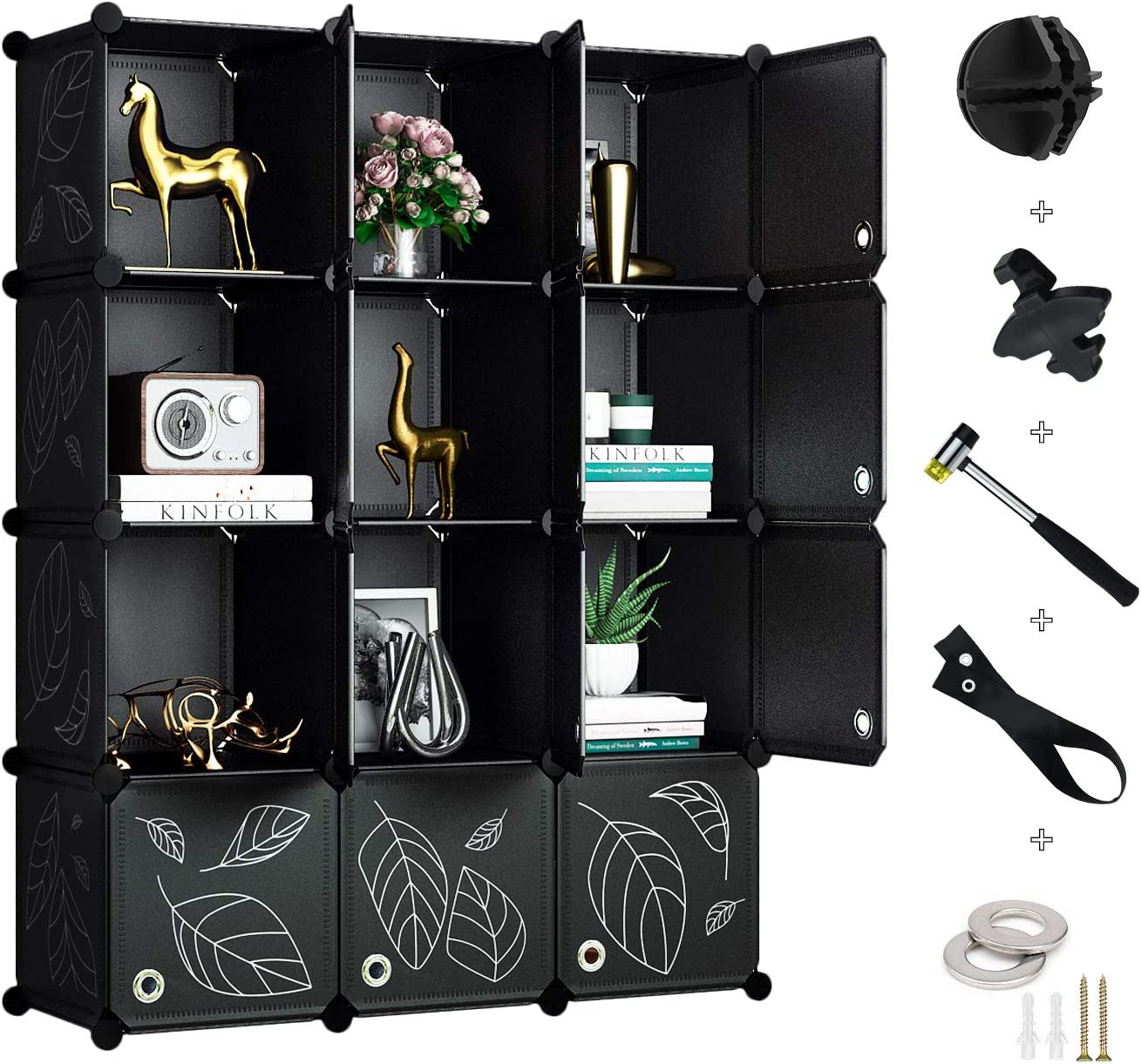 Greenstell 12 Cubes Storage Organizer with Doors,DIY Plastic Stackable Shelves Multifunctional Modular Bookcase Closet Cabinet for Books,Clothes,Toys,Artworks,Decorations (Black