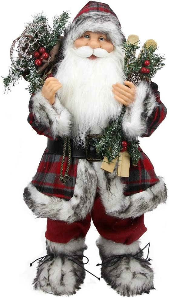 """Northlight Alpine Chic Standing Santa Claus with Frosted Pine Snowshoes and Skis Christmas Figure, 16"""""""