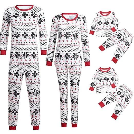 e004f2a8a588 Amazon.com  Yezijin Dad Mom Kids Family Matching Christmas Pajamas ...