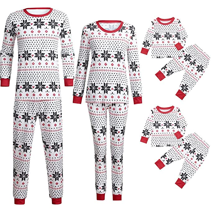c41d1b51fb Rucan Parent-Child Christmas Snowflake Print Tops Blouse Pants Family  Pajamas Sleepwear Outfits Set (