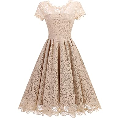 KAXIDY Ladies Vintage Lace Swing Dress A-line Bridesmaid Prom (Small, Apricot)