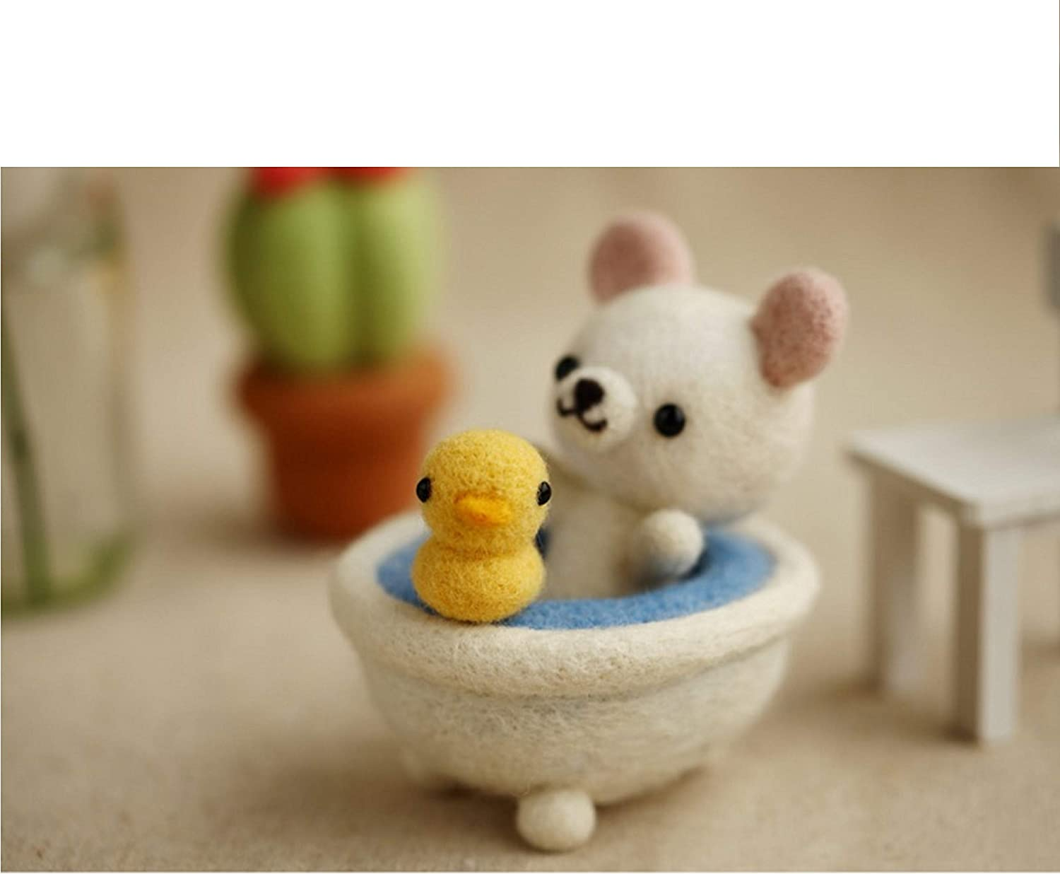 Great Starter kit WFKit-ZZ-BathBear-2 Bath Bear with Yellow Ducky in a Tub with English Instructions Cool Beans Boutique Wool Felting DIY Kit with Tools