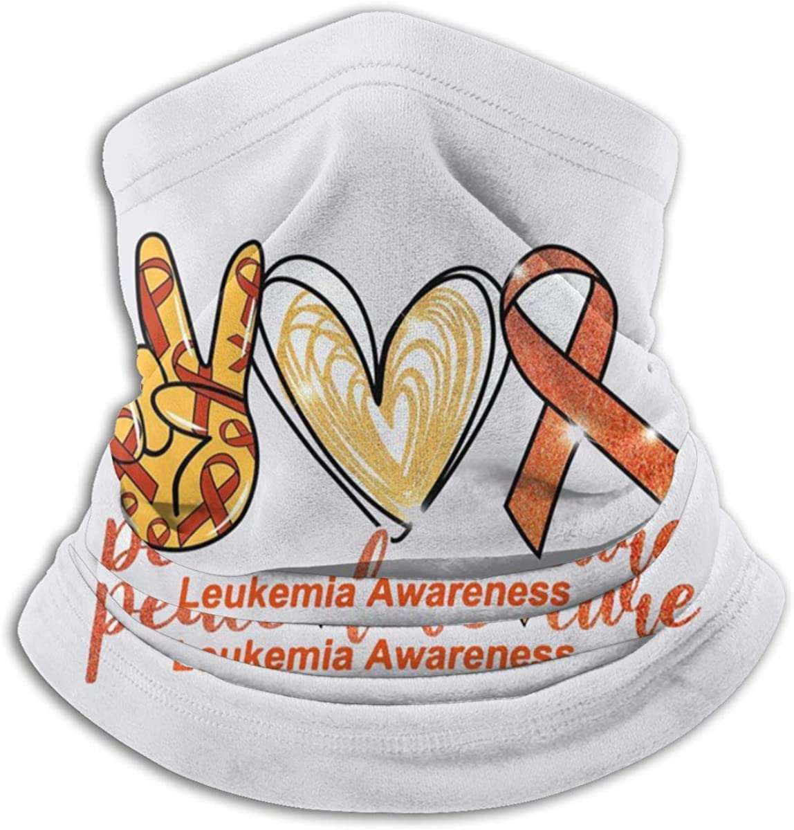 XXUU Conciencia de la leucemia cinta naranja cuello bufanda caliente, mascarilla, pañuelo en la cabeza
