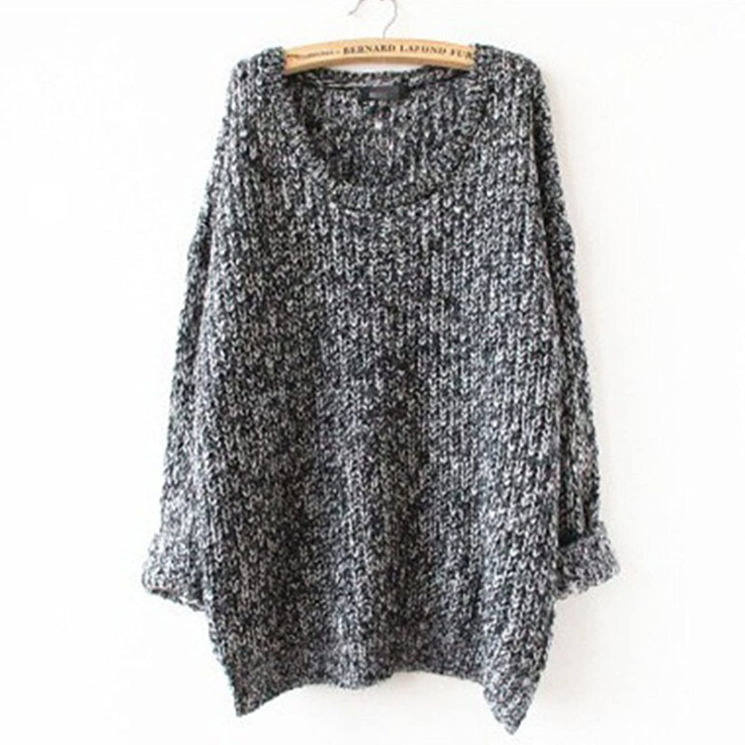 Womens Ladies Oversized Baggy Long Thick Knitted Long Sleeve Top Sweater