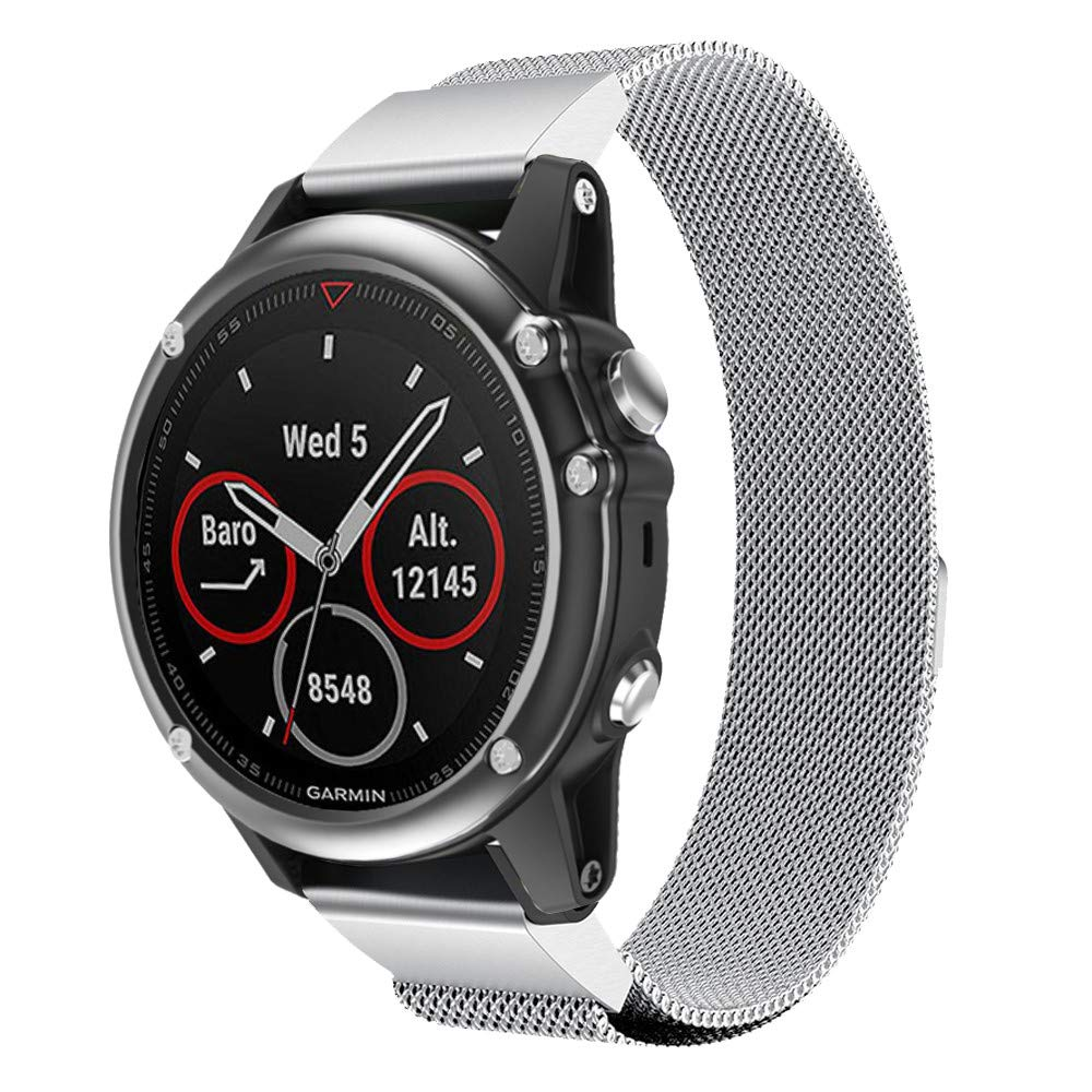 Cywulin for Garmin Fenix 5X Fenix 5X Plus Magnetic Milanese Loop Band, 26mm Easy Fit Quick Release Solid Stainless Steel Metal Strap Replacement for Garmin Fenix 5X/Fenix 3/Fenix 3 HR (Silver)