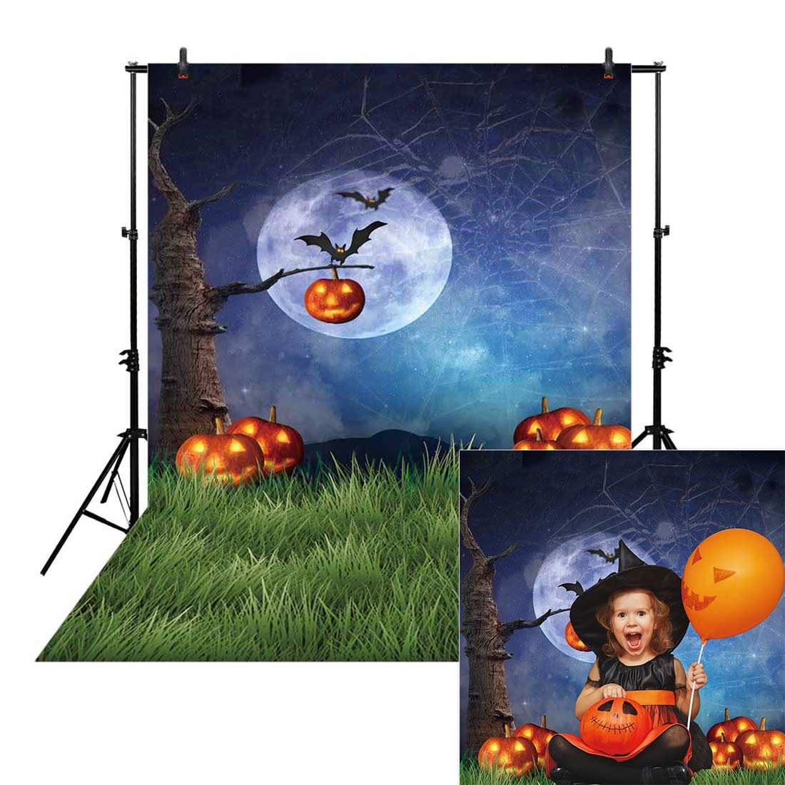 Allenjoy 5x7ft Night Halloween Themed Backdrop for Photography Fall Pumpkin Green Grass Children Newborn Portrait Background Party Birthday Banner Baby Shower Decorations Decor Photo Booth Shoot Props by Allenjoy
