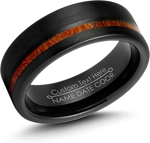 Personalized Engrave Black Plated Tungsten Ring Black Wedding Band Tungsten Ring Tungsten Carbide Wedding Ring 8mm Black Tungsten Ring