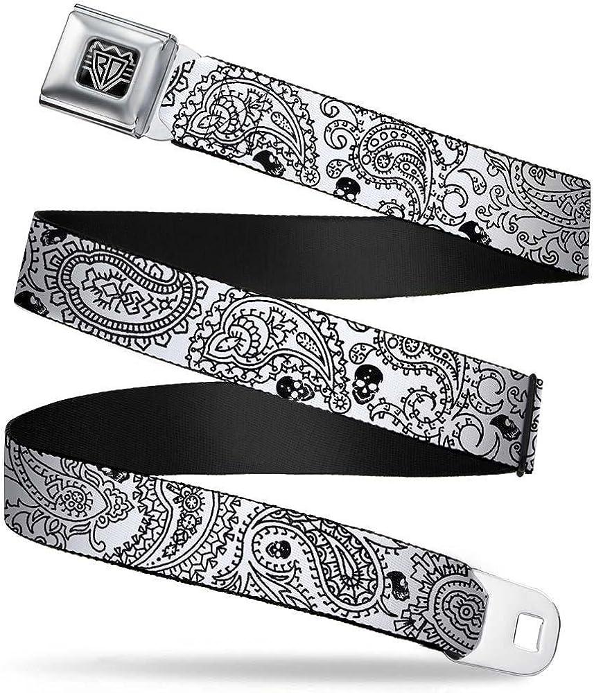 Buckle-Down Seatbelt Belt Bandana//Skulls White//Black 32-52 Inches in Length 1.5 Wide
