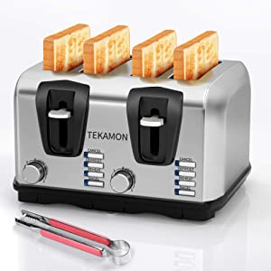 TEKAMON 4-slice toaster, extra wide slots, stainless steel toaster, 7 browning settings, 4 functions with cancel, reheat, defrost and bagel modes, removable crumb tray, silver.