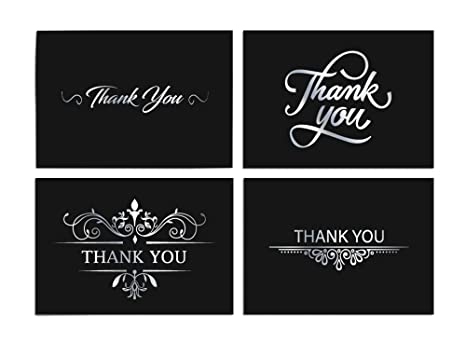 100 thank you cards bulk blank note cards with 4x6 envelopes and stickers black background