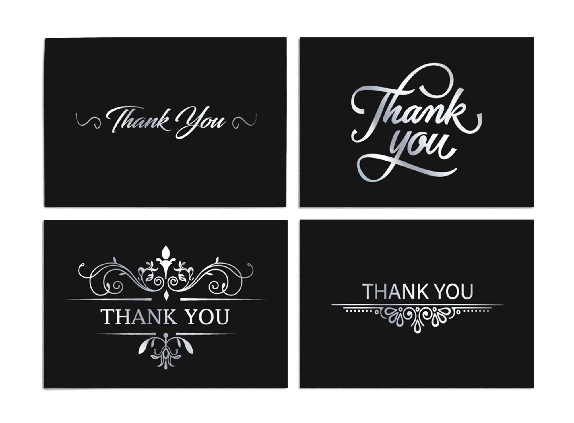 100 Thank You Cards Bulk Blank Note Cards with 4x6 Envelopes and Stickers - Black Background. Say Thank You in Style -for Casual, Business, Wedding, Graduation, Baby Shower, Christmas and Funerals.