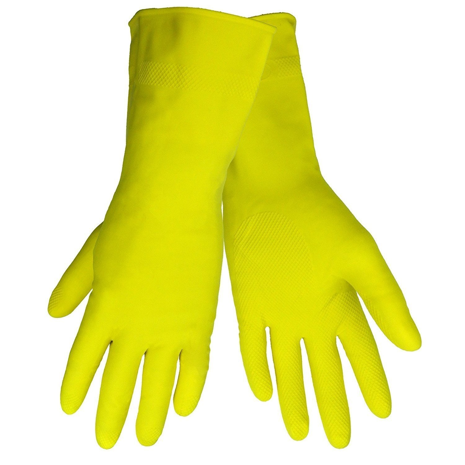 Global Glove 150F Flock Lined Latex Premium Grade Diamond Pattern Glove with Rolled Cuff and Chlorinated Liner, Chemical Resistant, Yellow, Pack of 12 (Small)