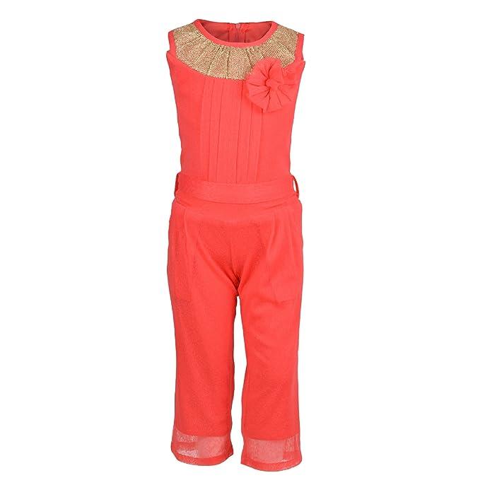 2807db8ceb68 Aarika Girl s Self Design Party Wear Jumpsuit (C-120-GAJRI 40 13-14 Years)   Amazon.in  Clothing   Accessories