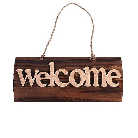Amazon.com: Cosmos señal de bienvenida placa de madera ...