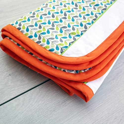 Unisex Orange, Green, White And Turquoise Baby Blanket