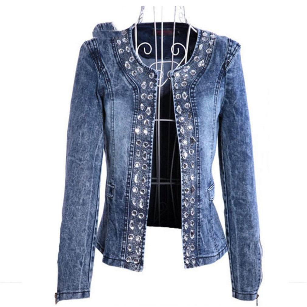 coatsa Diamond Sequins Female Coat Vintage Wash Casual Lady Jeans Cardigan Blue